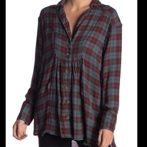 Free People all about the feels plaid tunic